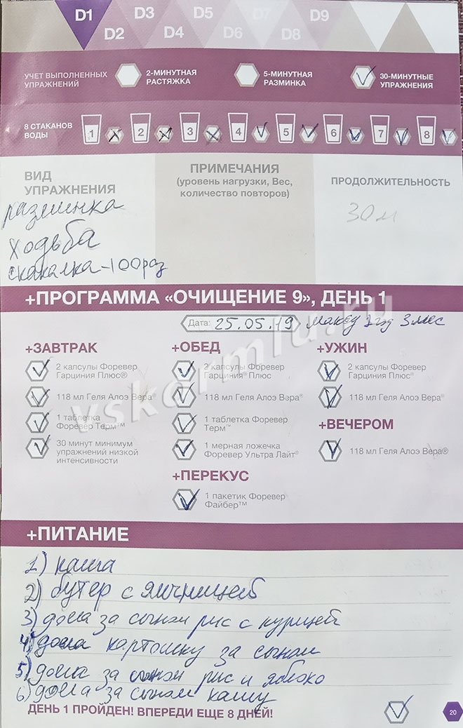 Отчет по прохождению программы очистки организма при ГВ, день 1