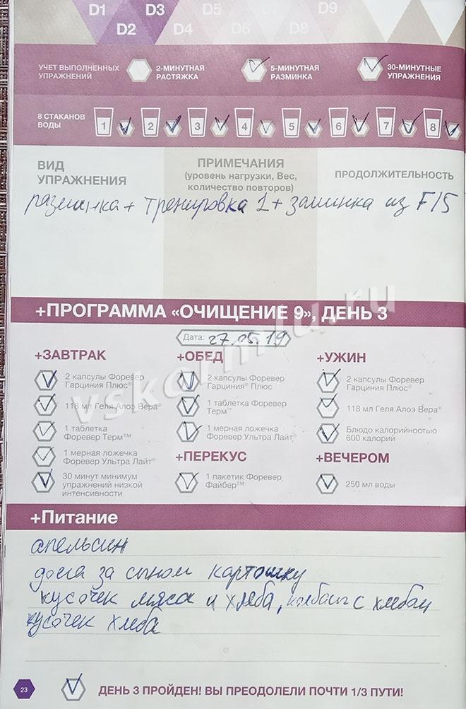 Отчет по прохождению программы очистки организма при ГВ, день 3
