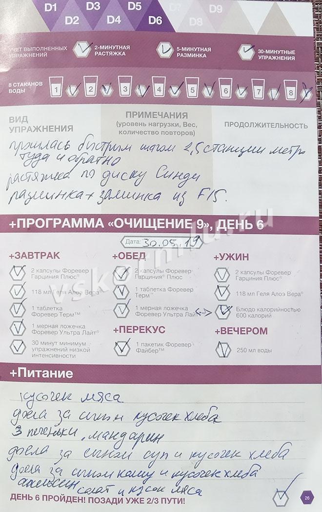 Отчет по прохождению программы очистки организма при ГВ, день 6